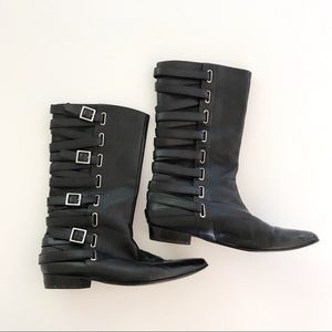 Marc Jacobs Black Buckle Pointed Moto Boots